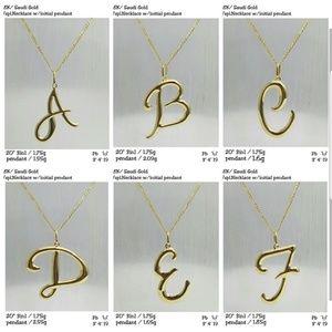 Jewelry - 18K Saudi Gold necklace w/ initial pendant